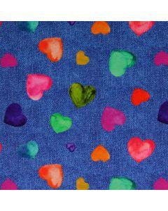 Jersey Stoff in Jeans-Optik mit bunten Herzen