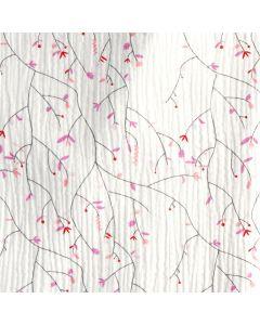 Weisser Musselin - Double Gauze Stoff mit feinen Ast- und Blattmuster in rosa-lachs