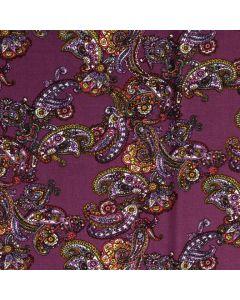 Viskose - Modal Stoff in aubergine mit Paisley-Muster