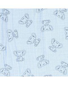Musselin - Triple Gauze Stoff in ecru mit schwarzen, 3cm grossen Elefant-Motiven für Babybekleidung und Kinderklamotten für den Sommer.