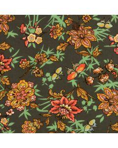 Viskose - Modal Stoff in olivgrün mit Blumenmuster