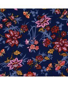 Viskose - Modal Stoff in dunkelblau mit Blumenmuster