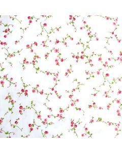 Baumwolle-Popeline Stoff in weiss mit feinen Rosenmuster für Damen- und Kinderbekleidung.
