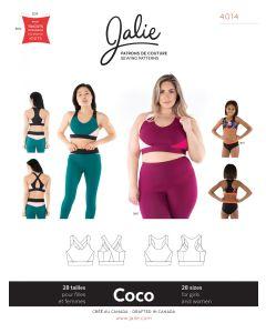 Jalie Schnittmuster 'Coco' (Nr. 4014) für Sport-BH und Bustier für Damen und Mädchen