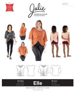 Reversibles Top Schnittmuster für Kinder und Damen, 'Elle' von Jalie (Nr. 4015). Der Schnitt kann als Ärmellos oder mit halblangen Ärmeln genäht werden.