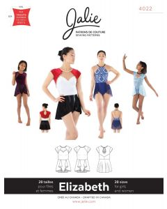 Schnittmuster für ein Kürkleid 'Elizabeth' von Jalie für Rhytmische Gymnastik, Eiskunstlauf oder Tanz.