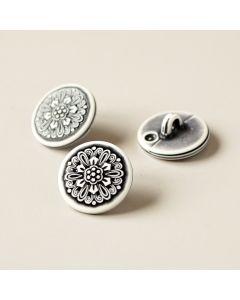 Kunststoffknopf in offwhite mit Blumenmuster in anthrazit. Ösenknopf mit 15mm Durchmesser.