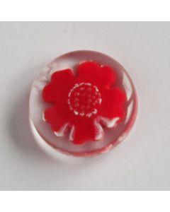 Roter Knopf mit Blumenmotiv - 15mm