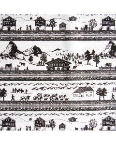 Baumwollstoff mit Scherenschnitt-Musterung. Die Muster zeigen Szenen aus dem Leben auf dem Bauernhof. Im Hintergrund sind Berge bzw. das Matterhorn abgebildet.