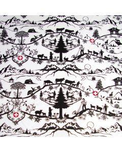 Leichter Baumwollstoff mit typisch schweizerischer Musterung im Scherenschnitt-Stil - der Stoff hat typisch schweizerische Motive wie der Matterhorn, Alpabzug, Alphütte und schweizer Kreuz.