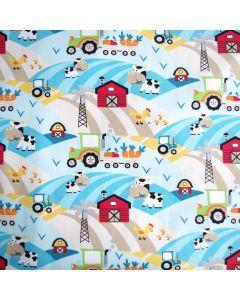 Jersey Stoff aus Baumwolle mit Bauernhof-Motiven: Kuh, Traktor und Huhn. Der Stoff ist bielastisch, sehr weich, ideal für Baby- und Kinderbekleidung.