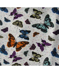 Weicher, querelastischer Wintersweat Stoff in graumelange mit bunten Schmetterlingsmuster für warme Jacken und Hosen.