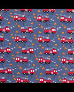 Toller, bielastischer Jersey Stoff in jeansblau mit kleinen Feuerwehrauto und Feuer-Muster für die kleinsten Feuerwehr-Fans.