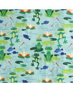 Weicher, bielastischer Jersey Stoff in mint mit süssen Frosch- und Froschteich-Muster für Kinderbekleidung und Unterwäsche