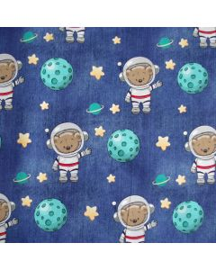 Sommersweat - French Terry Stoff 'Astronaut' mit Bärchen-Muster; der Stoff ist bielastisch, perfekt für Kinderbekleidung: T-Shirts, Hoodies; Turnhosen; usw.