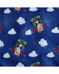 Jersey Stoff in jeansblau mit süssem Pilot-Tierli im Flugzeug-Muster - für süsse Kinderklamotten und Unterwäsche.