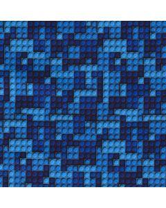 Blauer Softshell Stoff 'Lego' mit Bauklotz-Muster