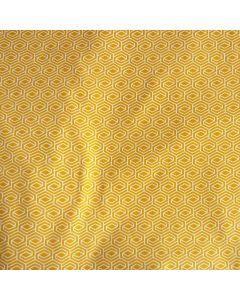 Leichter Baumwolle Popeline Stoff in ocker mit weisser Musterung für Bekleidung und Deko.