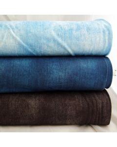 Digitaldruck Jersey Stoff in Jeans-Optik - in div. Farben