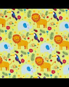 Süsser Jersey Stoff für Babies und Kleinkinder mit Dschungel- und Savanne-Motiven: Löwe, Elefant und Kakadu.