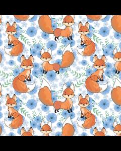 Bielastischer Jersey Stoff aus Baumwolle mit süssen Fuchs-Motiven für Bekleidung und Unterwäsche.
