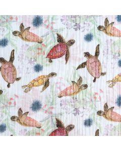 Musselin Stoff mit Schildkröte-Muster