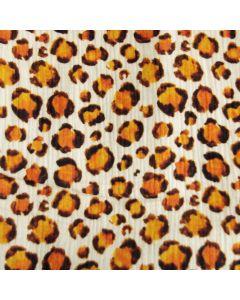 Weicher, nicht elastischer Musselin Stoff in offwhite mit Leopardenmuster in ocker-braun. Die Leopardenflecken sind 2-2.5cm gross.