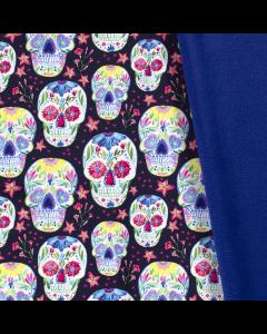 Softshell Stoff in schwarz mit bunten Totenkopf-Motiven in mexikanischem Stil. Perfekt für coole Softshell-Jacken, Hosen oder Accessoires.