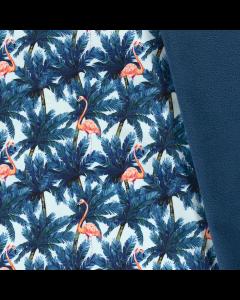 Wasserabweisender und winddichter Softshell Stoff in aquamarine-petrol mit lachsfarbenem Flamingomuster - der Stoff ist perfekt für Softshell-Jacken, Outdoordecken, Taschen; usw.