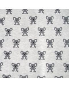 Sweat Stoff mit Koalamuster in grau für Baby- und Kinderklamotten und Deko - der Stoff ist nicht elastisch, relativ Warm.