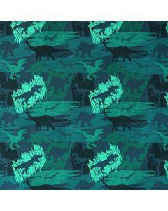 Dunkelgrauer Jersey Stoff mit Strassenmuster und bunten Auto- und Dinomotiven. Der Stoff ist bielastisch und weich, perfekt für Kinderbekleidung und Unterwäsche.