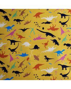 Weicher, bielastischer Jersey Stoff in ocker mit Dinosauriermuster für Kinderbekleidung und Unterwäsche.