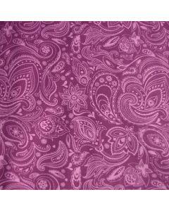 Jersey Stoff aus Baumwolle in lila mit hellem Paisleymuster für leichte Damenbekleidung oder Unterwäsche.