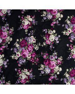 Schwarzer Jersey Stoff in Blumenmotiven in pink und ecru für Damenbekleidung.
