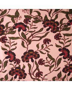 Weicher, bielastischer Jersey Stoff in altrosa mit Blumenmuster in dunkelrot für Bekleidung und Unterwäsche.