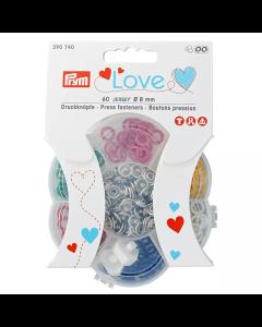 Bunte Metall Druckknöpfe 'Prym Love' in assortierten Farben mit Werkzeug - Durchmesser: 8mm - die Packung enthält 60 Stk. Druckknöpfe