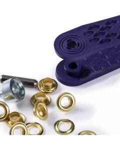Ösen und Scheiben mit Werkzeug von Prym in diversen Grössen und Farben
