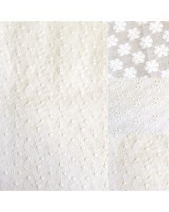 Baumwollspitze - Satin Stickerei in ecru für festliche Kleider, Trachten, Babykleider - aus 100% Baumwolle mit feiner Stickerei.