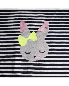Wendepailletten Jersey Stoff Panel mit Kaninchenmotiv (Hasenmotiv) - der Stoff ist schwarz-weiss - Panelgrösse: 60 x 145cm
