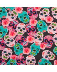 Dunkelgrauer Jersey Stoff mit bunten Totenkopf-Muster