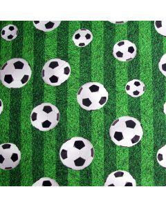 Jersey Stoff mit Fussballmuster - digitaldruck Jersey Stoff in grasgrün mit weissen Fussball-Motiven.