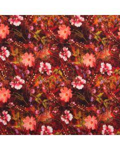 Digitaldruck Jersey Stoff in fröhlichen Rot- und Orangetönen mit Blumenmuster - der Stoff ist aus Baumwolle, perfekt für Bekleidung und Unterwäsche.