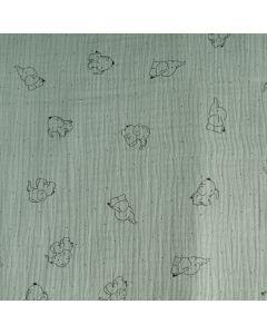 Musselin - Double Gauze Stoff in khaki mit schwaren, 3cm grossen Elefant-Motiven für Babybekleidung und Kinderklamotten für den Sommer.