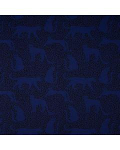Bielastischer Jersey Stoff in offwhite mit Leopardenmuster in senf und schwarz. Der Stoff ist perfekt für Damenbekleidung.