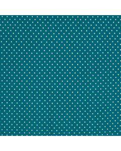 Getupfter Jersey Stoff mit weissen Pünktchen auf petrol - Stoffzusammensetzung: 95% Baumwolle 5% Elastan - 150cm breit