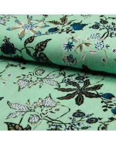 Viskose Stoff in mint mit Blumenmotiven und glitzernden Lurexstreifen für Sommerkeider, Tunikas oder Sommerhosen.