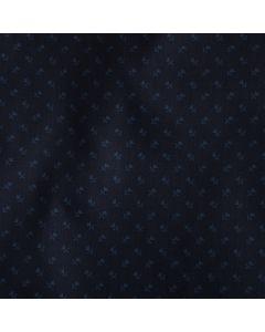 Baumwolle-Satin Stoff in dunkelblau mit feinem Blumenmuster in grau für Trachten, Kleider, Röcke oder Blusen.