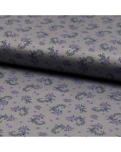 Baumwolle-Satin Stoff in silbergrau mit feinem Blumenmuster in grau für Trachten, Kleider, Röcke oder Blusen.
