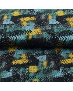 Bielastischer, weicher French Terry - Sommersweat Stoff mit BMX Cross Racing (Velomuster) bedruckt für Pullis, T-Shirts, lockere Hosen für Jungs und Männer.
