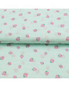 Baumwollstoff in mint mit kleinen Noppen und Erdbeere-Muster für Bekleidung und Deko.